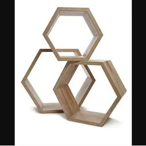 NIB Wooden Hexagon Floating Shelves